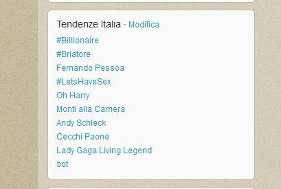 Twitter Tendenze Italia del 13 giugno
